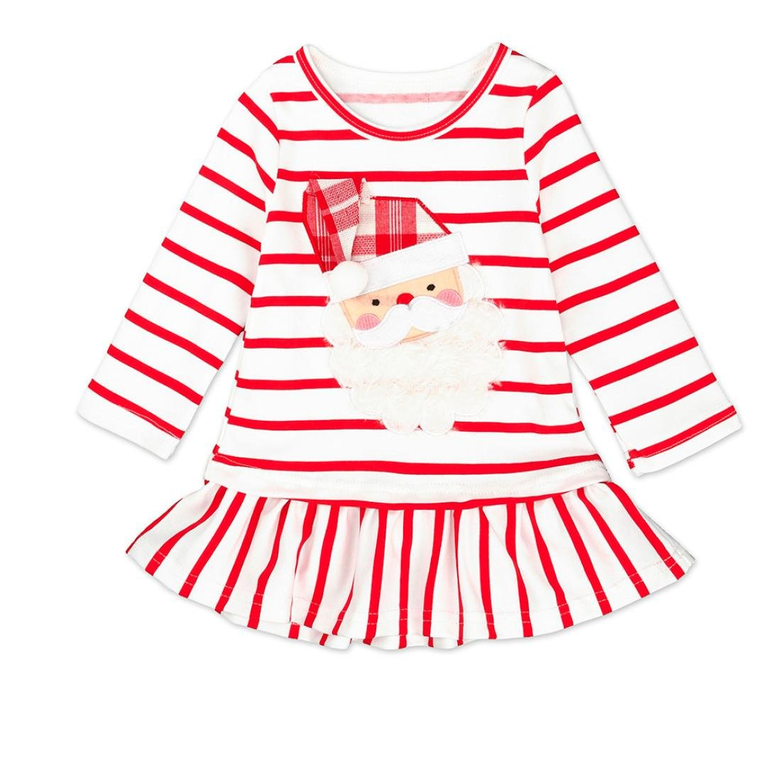ANBOO Toddler Kids Girls Striped Princess Lovely Dress Christmas Outfits Clothes ANBOO2022