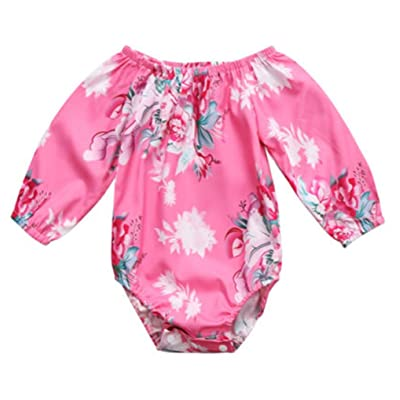97161b6b4 Emmababy Baby Gilrs Pink Bodysuit Flowers Romper Summer Long Sleeve Off  Shoulder Jumpsuit One Piece