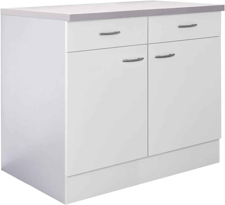 Flex-Well Küchenschrank UNNA  Unterschrank  13-türig, 13 Schubladen   Breite 13 cm  Weiß