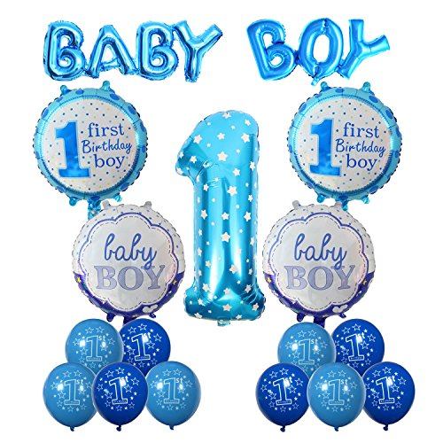 1st Birthday Decoration Cocodeko Inflatable Helium Foil Balloons Baby Boys Party Air Set Supplies For Shower Photo Props Blue