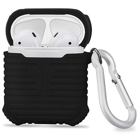 Funda AirPods, Carcasa AirPods, Lopie Funda Suave Silicona (Portátil, Protección deportiva) Enjaca Perfecta para Apple AirPods, Color Negro