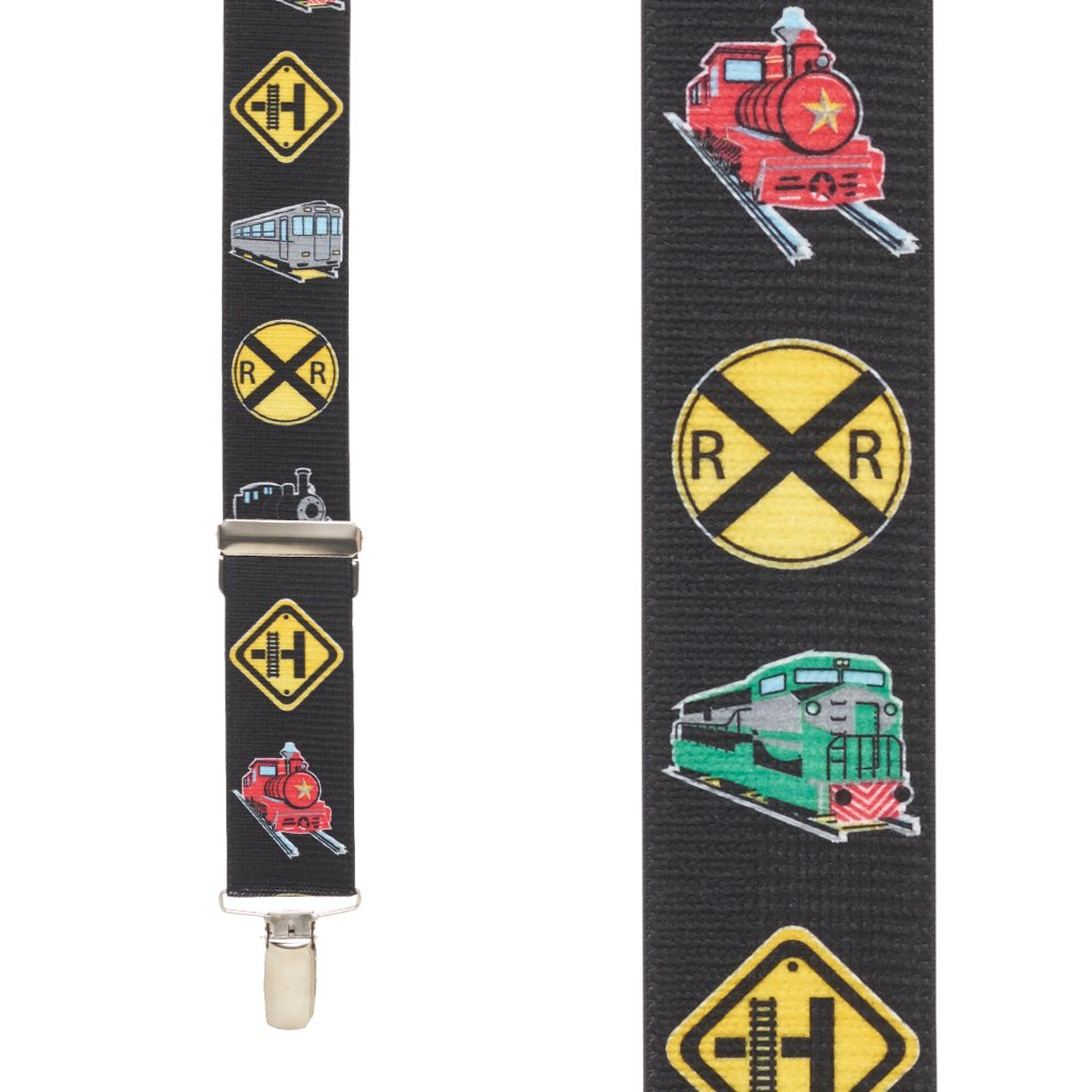 SuspenderStore Mens Train Suspenders 1.5 Inch Wide Nickel Clip
