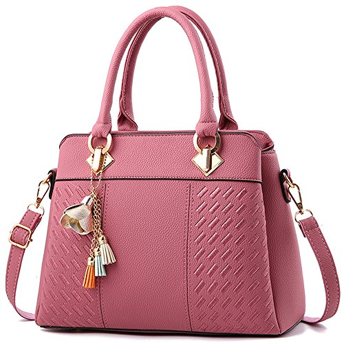 FiveloveTwo Elegant Womens Handbags and Purses Ladies PU Leather Satchel Messenger Crossbody Tote Shoulder Bags Rubber Pink