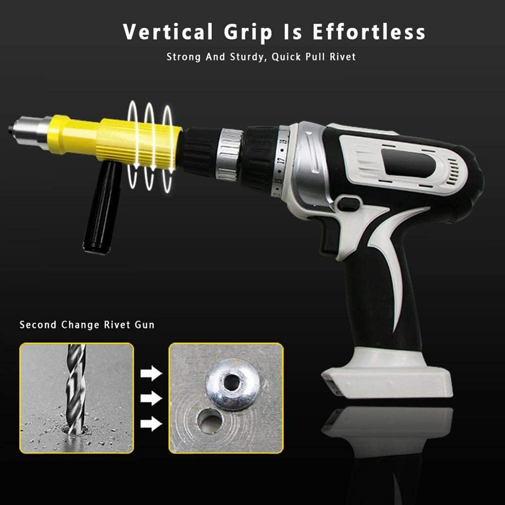 LayOPO Pistolet /à Rivet Electrique Professionnel Kit Outil /à Main pour Perceuse Electrique sans Fil avec T/ête de Rivet 3 T/ête de Rivet et Cl/é
