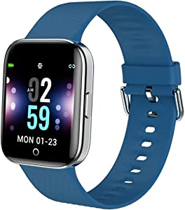 MBHB Youth Smart Watch, Indoor Sport Fitness Tracker, Dynamic Heart Rate Sleep Monitor Wristband for Men Women, Blue