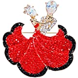 EVER FAITH Austrian Crystal Zircon Romantic Ballroom Dancing Couple Brooch Ruby Color Gold-Tone