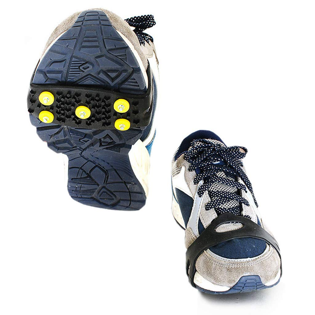OVERMAL_Accessories Ice Grips on-Slip Over Shoe Snow & Ice Cleats Grips Anti-Slip Studded Ice Traction Shoe Covers Spike