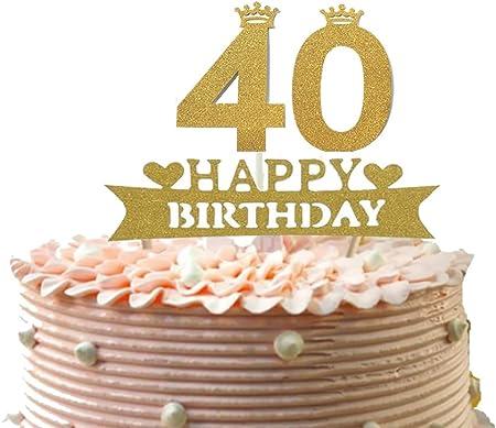 Marvelous Alemon Glitzer 40 Happy Birthday Cake Topper Vierzig Cupcake Funny Birthday Cards Online Aboleapandamsfinfo