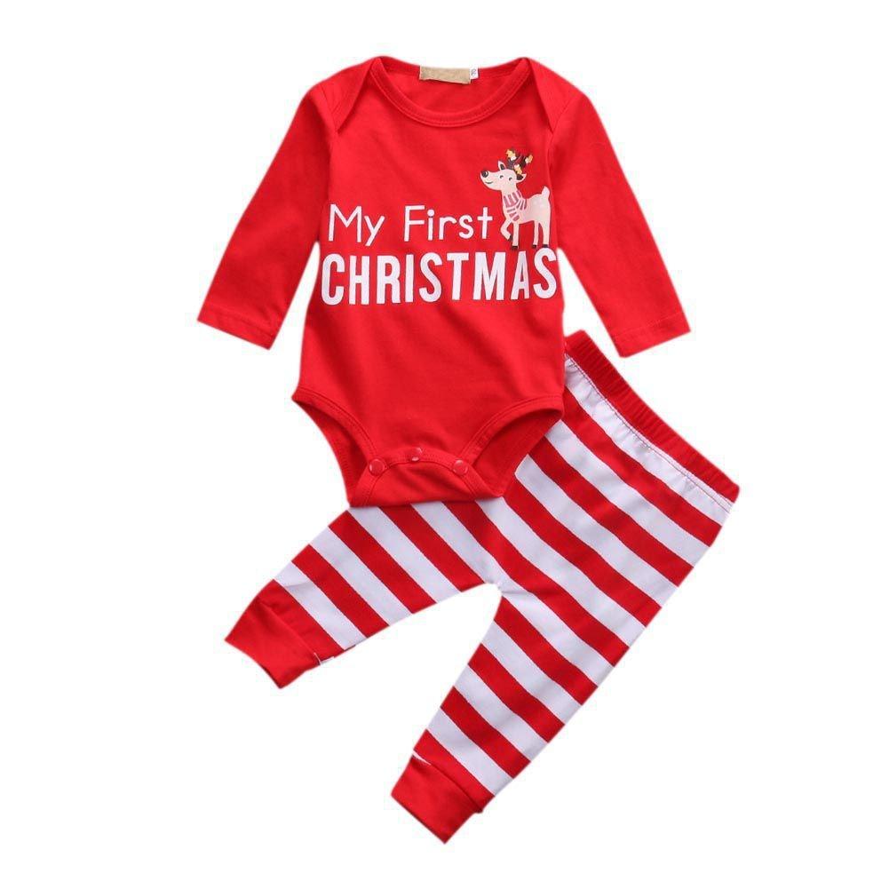 BOBORA Xmas Outfits for Newborn Baby Girls Boys My First Christmas Romper + Stripe Pants Set BON-N-2011KX0297
