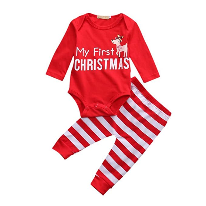 5215bc8b584d BOBORA Xmas Outfits for Newborn Baby Girls Boys My First Christmas Romper +  Stripe Pants Set: Amazon.co.uk: Clothing