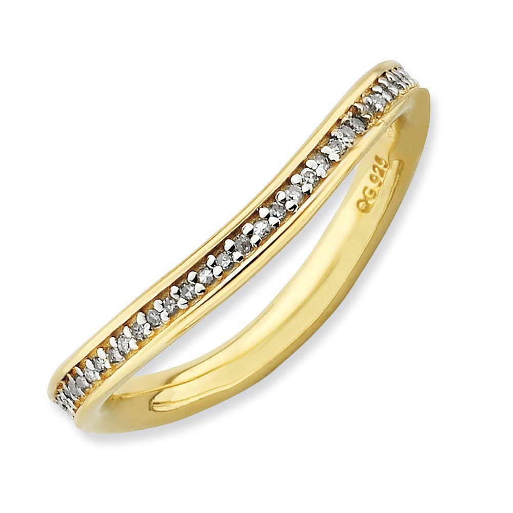 Roy Rose Jewelry Sterling Silver Stackable Expressions & Diamonds Gold-plated Wave Ring Size 9
