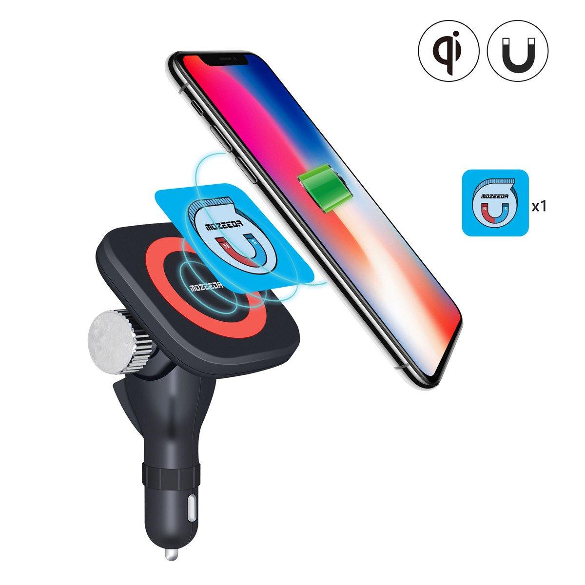 ワイヤレス車充電器磁気、mozeeda 180 ° Removalシガレットライター車ワイヤレス充電ステーションfor iPhone X、iPhone 8プラス、iPhone、8、SAMSUNG NOTE 8 s8 +、s7 Edge、LG g6 ブラック WC-MO005-CL B0774XDR5L  Magnetic Charger+Smart Magnet