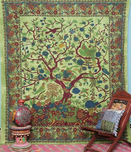 Tapestry Green Floral - Premium Quality Tree Of Life floral Tapestry Queen Hippy Coverlet Home Décor Tree of Life Tapestry Bird Blanket Tapestry of Life Hippie Tree Queen Tapestry By Elegant Designs