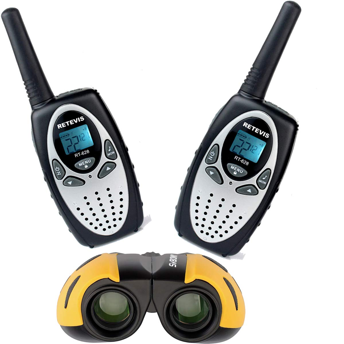 Retevis RT628 Kids Walkie Talkies 22 CH FRS License Free Toy Walkie Talkies (Silvery,2 Pack) with 8X21 Kids Binocular for Outdoor Play (1 Pack) (Yellow)