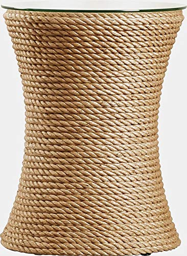 Circular Jute Rope Base End Table - End Table with Glass Top - Tan