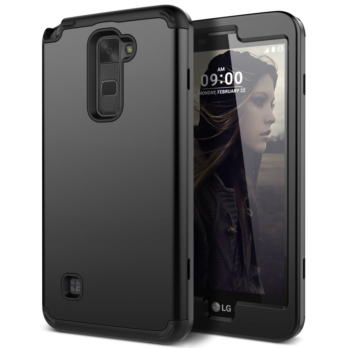 LG Stylus 2 Case, WeLoveCase Heavy Duty Drop Protection Case Shockproof Silicone Bumper + High Impact Hard PC 3 in 1 Hybrid Protective Case Cover for LG Stylus 2 / LG G Stylo 2 (LS775) - Black