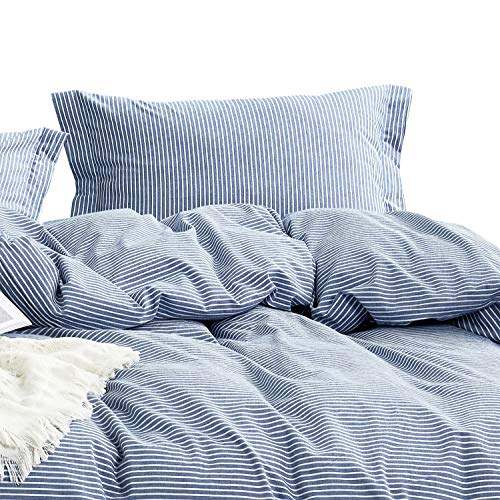 Wake In Cloud - Washed Cotton Duvet Cover Set, White Striped Ticking Pattern Printed on Navy Blue, 100% Cotton Bedding, with Zipper Closure (3pcs, Full Size) (Blue Full Duvet)