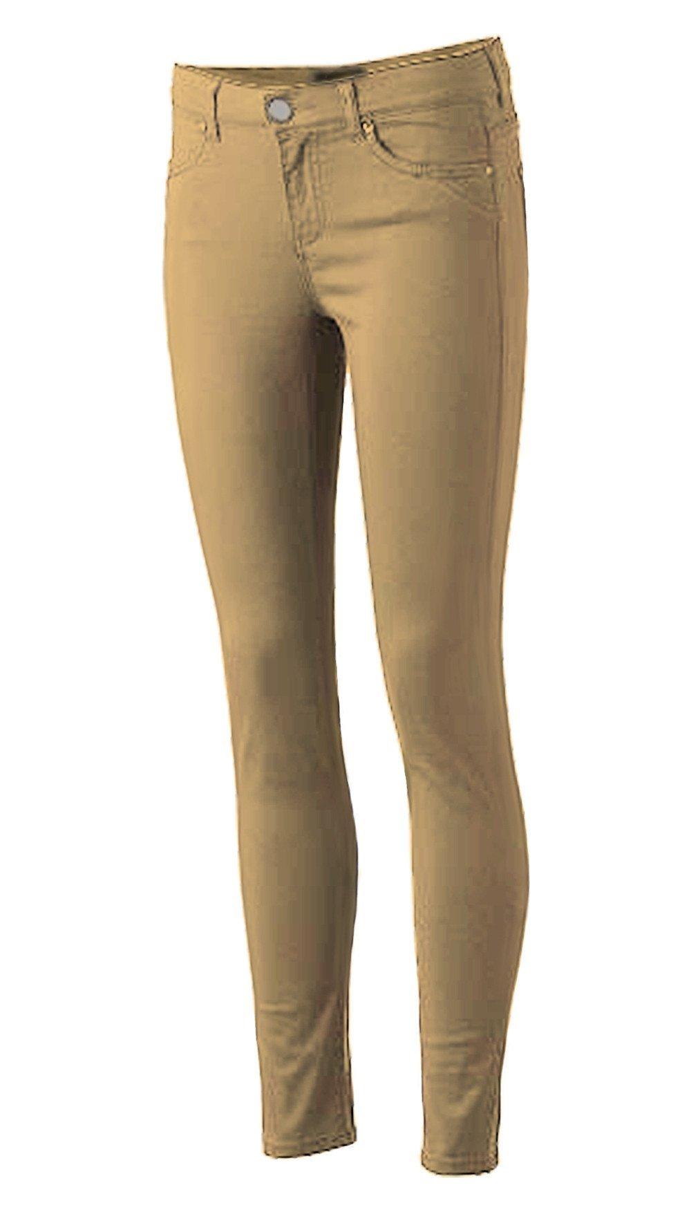 Pro5 Girls Junior School Uniform Skinny Stretched Pants Black/Navy/Khaki/Grey 0~15 (1, KHAKI)