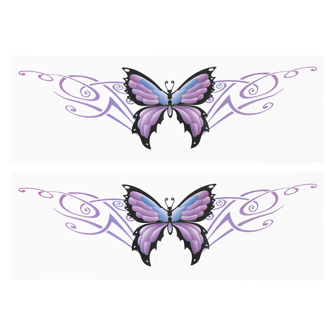 X AUTOHAUX 2pcs Purple Butterfly Pattern Personality Car Trunk Emblem Badge Adhesive Tape Decal Sticker