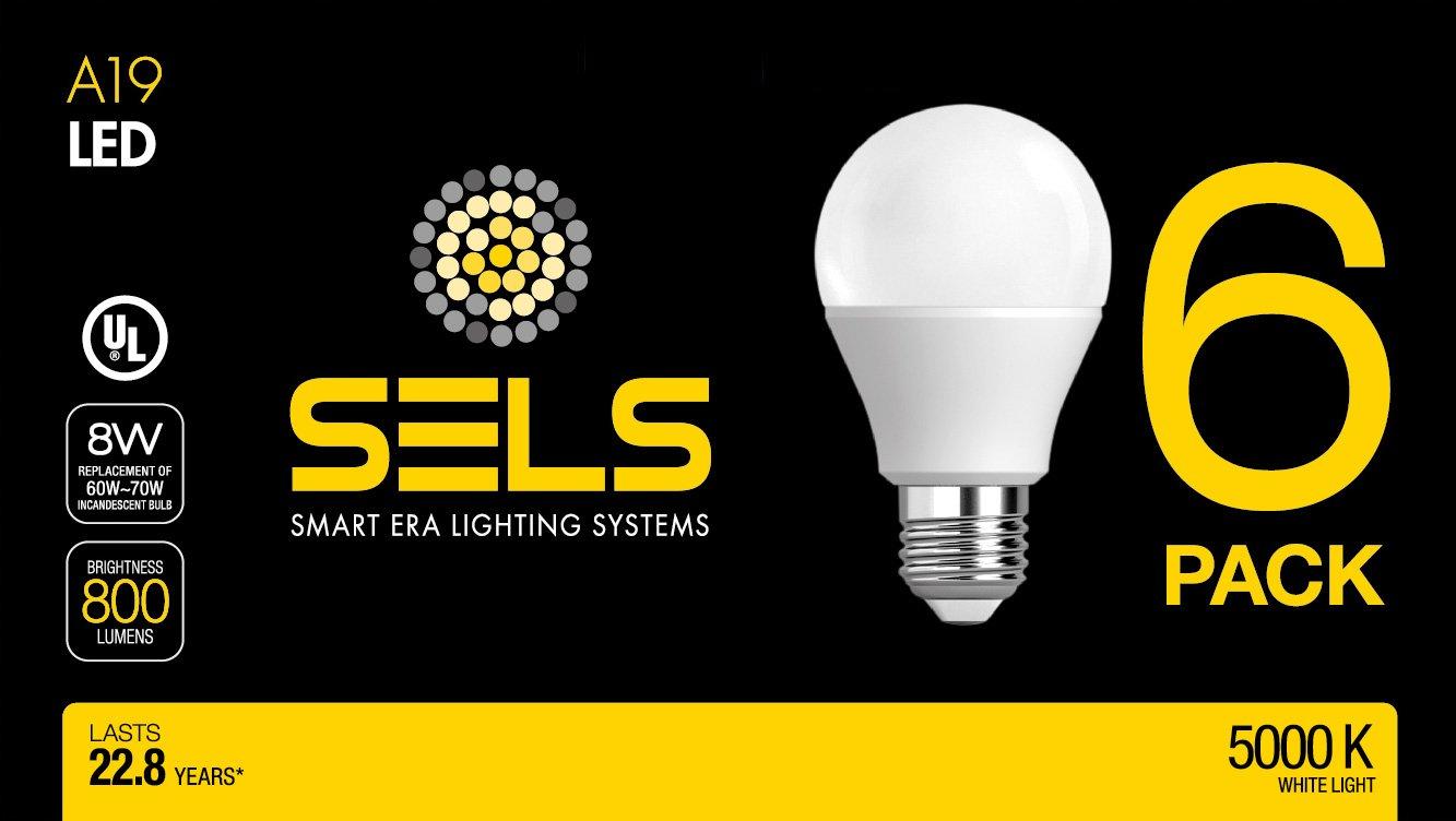 SELS LED A19 60-Watt Equivalent LED Light Bulb, E26 Standard Base, Daylight (6 Pack)  - - Amazon.com