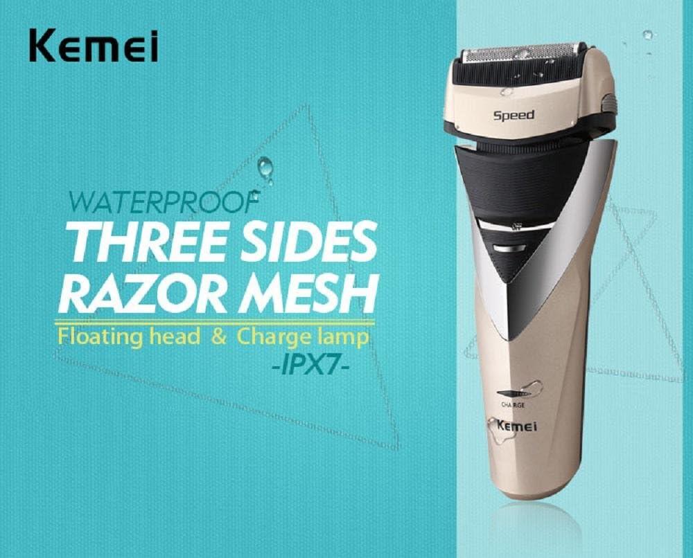 Kemei8102 Triple Blade Cutting System Afeitadora Eléctrica IPX7 A ...
