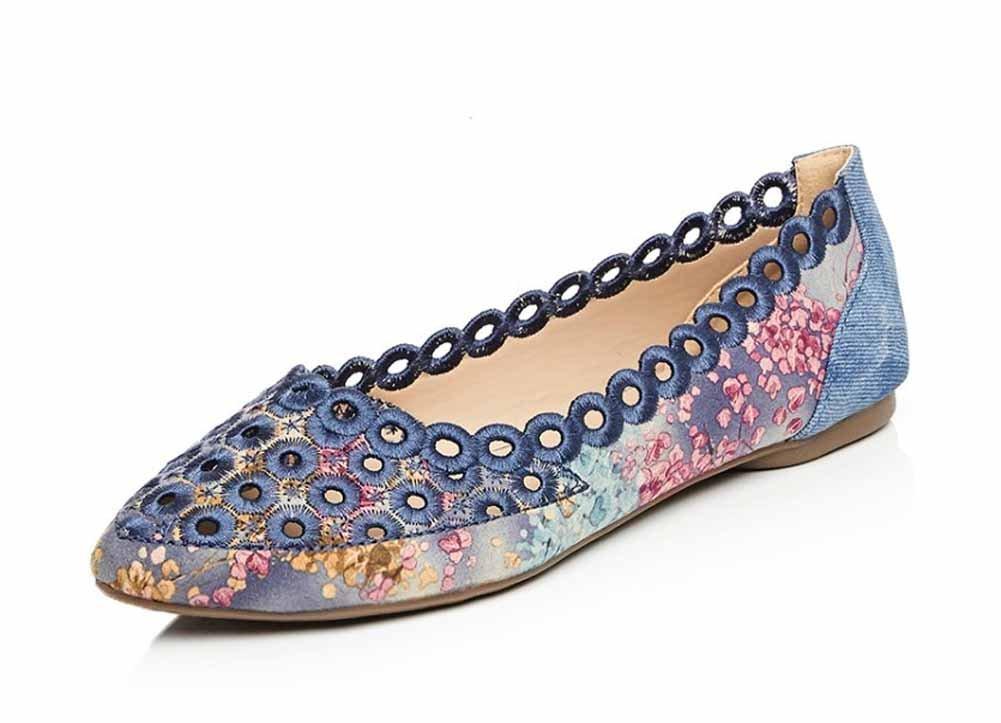 Onfly New Frauen Casual Hollow Flats Fruuml;hling Sommer Komfort Sandalen Suuml;szlig;e Country Style Gericht Schuhe eu size  37|Blau