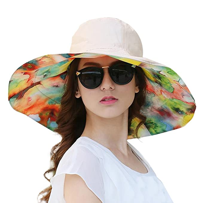 9a25b9abe067 Urban CoCo Women s Summer Foldable Wide Brim Floppy Beach Hat (Beige ...