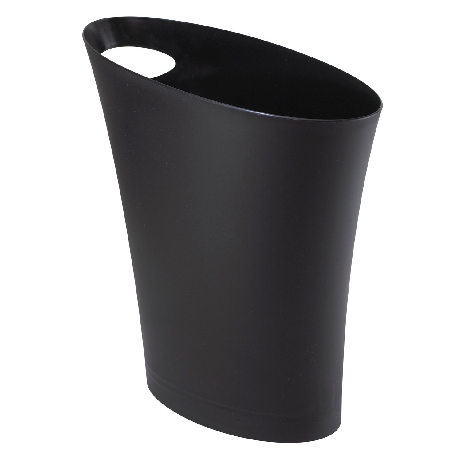 Umbra Skinny Sleek & Stylish Bathroom Trash, Small Garbage Can Wastebasket for Narrow Spaces at Home or Office, 2 Gallon Capacity, Black