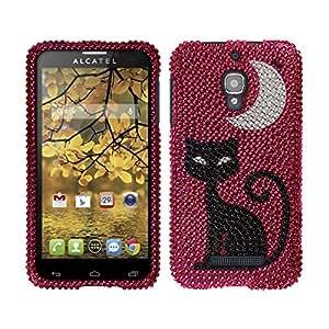 Fincibo (TM) Alcatel One Touch Fierce 7024W Bling Crystal Full Rhinestones Diamond Case Protector - Black Cat On Hot Pink
