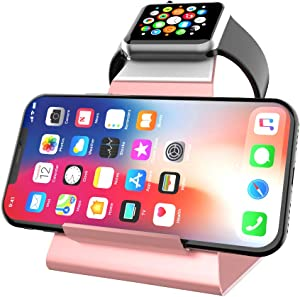 XUNMEJ iWatch Stand Holder, Aluminum NightStand Apple Watch & iPhone Universal Desktop Charging Station for iWatch Series 5 4 3 2 1 iPhone 11/11Pro/11Max/Xs/Xs Max/XR/X/8/8P/7/7Plus(Rose Gold)