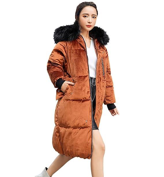 Premium Chaqueta Mujer Invierno 2017 Versión Coreana del Abrigo Largo De Piel con Capucha Gran Terciopelo Cálida Pluma: Amazon.es: Ropa y accesorios