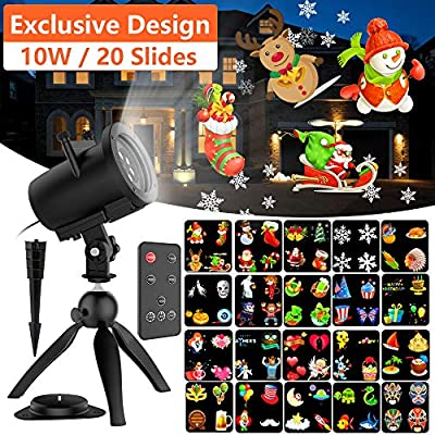 Halloween Christmas Projector Lights, 16 Slides Waterproof IP65 Outdoor Landscape 6W Motion LED Projection Lights (10W(Black))