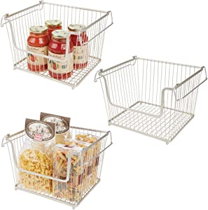 mDesign Modern Stackable Metal Storage Organizer Bin Basket with Handles, Open Front for Kitchen Cabinets, Pantry, Closets, Bedrooms, Bathrooms - Large, 3 Pack - Satin