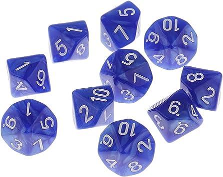 Juego De Dados Poliédricos De 10 Dados para Juegos De Mesa De Mazmorras Y Dragones - Paquete De 10 - Azul: Amazon.es: Juguetes y juegos