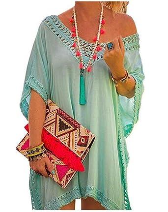 HIDENFAFR Mujeres con estilo bohemio crochet falda playa traje de ...