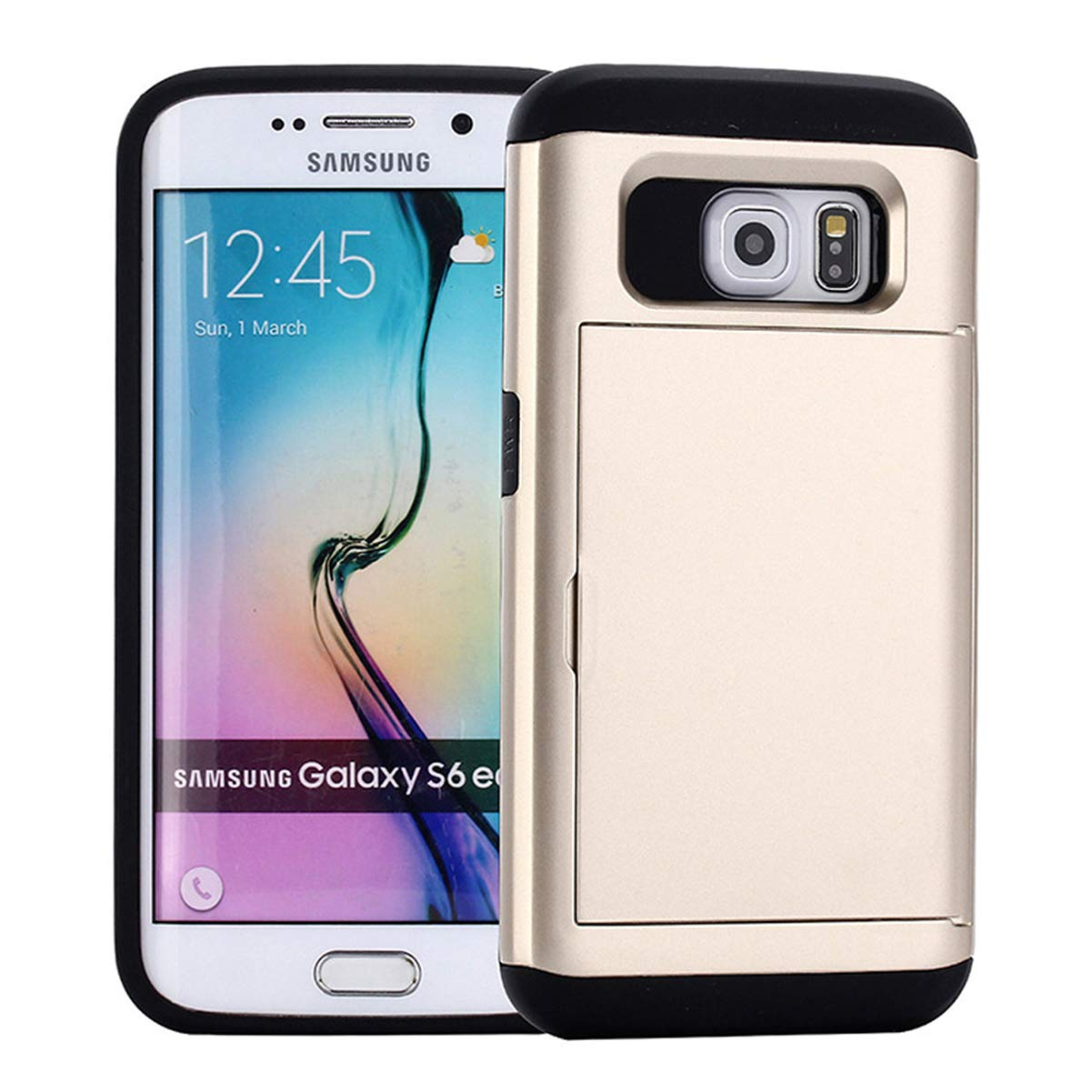 Ldea Case for Galaxy S8 Plus Case, Wallet Card Holder Slot Sliding Cover ID Pocket Anti-Scratch Protective case for Galaxy S8 Plus 6.2 inch (Gold) by Ldea