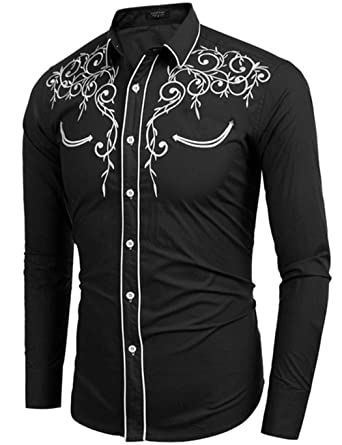 Fenido Men's Casual Shirt, Long Sleeve Embroidered Slim Fit