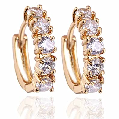 Yazilind Charming Smooth 18K Gold Plated Simple Style Inlay Round Cubic Zirconia Small Hoop Earrings for Women FZDxkk