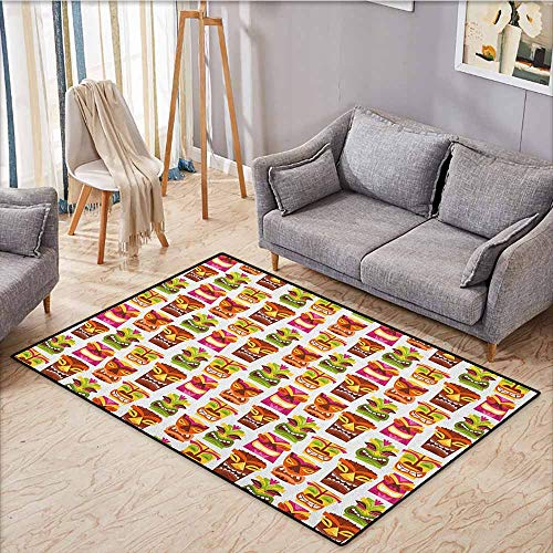 - Pet Rug,Tiki Bar,Sixties Retro Inspired Cute Hawaiian Party Happy Tiki Statues Pattern Colorful,Super Absorbs Mud,3'11