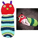 WOPS Cute Caterpillar Style Baby Newborn Photography Props Infant Handmade Crochet Beanie Hat Clothes Baby Photograph Props