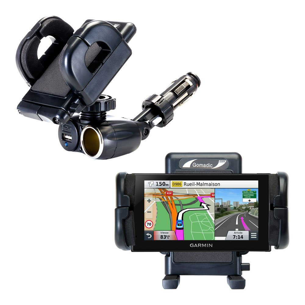 Unique Auto Cigarette Lighter and USB Charger Mounting System Includes Adjustable Holder for the Garmin nuvi 2669 / 2689 LMT