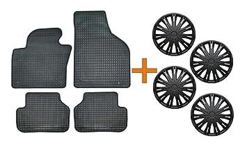 Set de alfombrillas de goma + Tapacubos Spark Negro 15 para Mazda