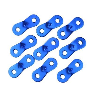 Bigood 5Pcs Boucle de Corde de Vent Uni en Métal Camping Taille 36*19*2mm Bleu