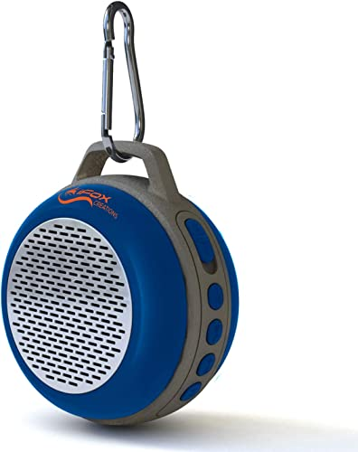 iFox IFS303 Ultra Portable Wireless Bluetooth Speaker with Clip for iPhone iPad iPod Android or PC with FM Radio, AUX, SD and Speakerphone, Outdoor and Indoor Blue