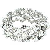 EVER FAITH® Crystal Cream Simulated Pearl 1920's Style Leaf Stretch Bracelet Clear