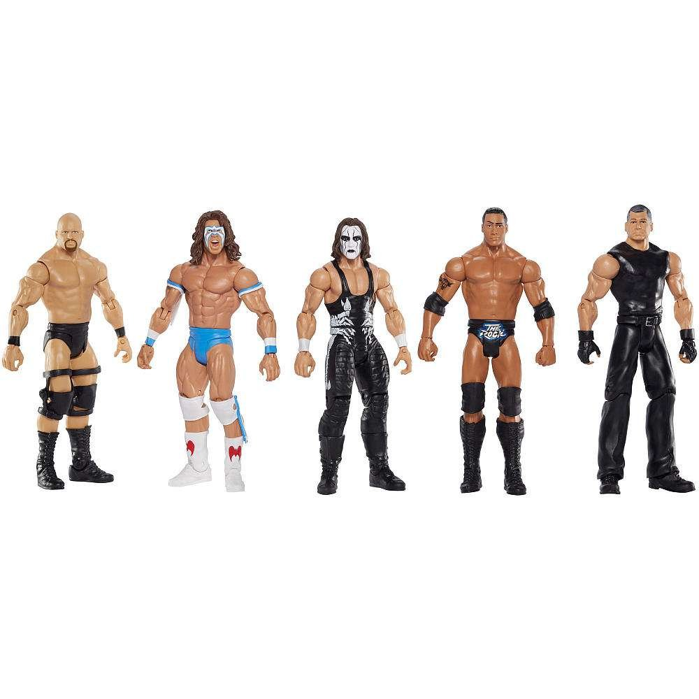 WWE Network Spotlight Exclusive 5-Pack Mattel Toys SG/_B01JH8TGG4/_US Stone Cold, Mr. McMahon, Sting, The Rock, and Ultimate Warrior WWE Basic Series