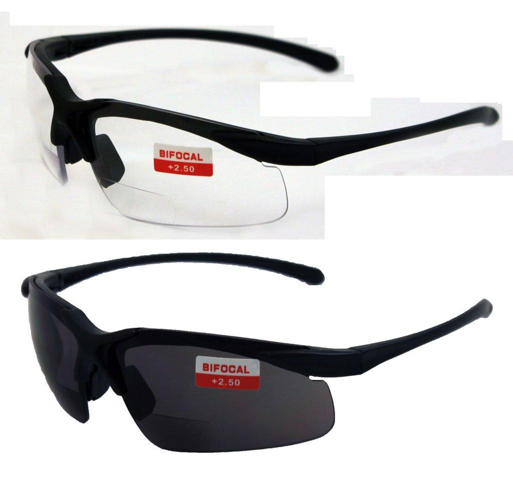 Two Pairs of Apex 2.5 Bifocal Safety Glasses, One Pair with Clear Lenses and One with Smoked
