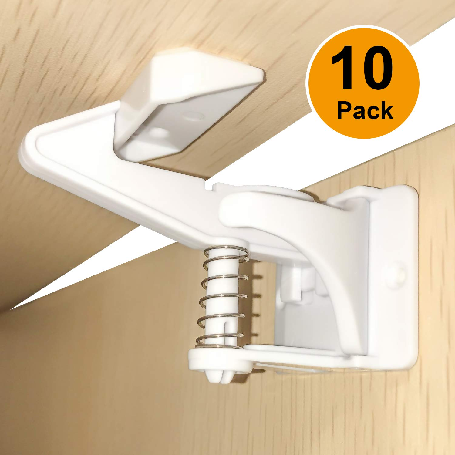 Cabinet Locks Child Safety, Carttiya 3M Adhesive Spring Loaded Latches, Easy Installation, No Tools or Drills Needed, Invisible Design with Buckles Fit Most Cabinets, Drawers and Closets, White