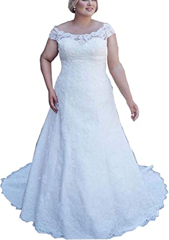 Lace Bridal Wedding Gowns Plus Size