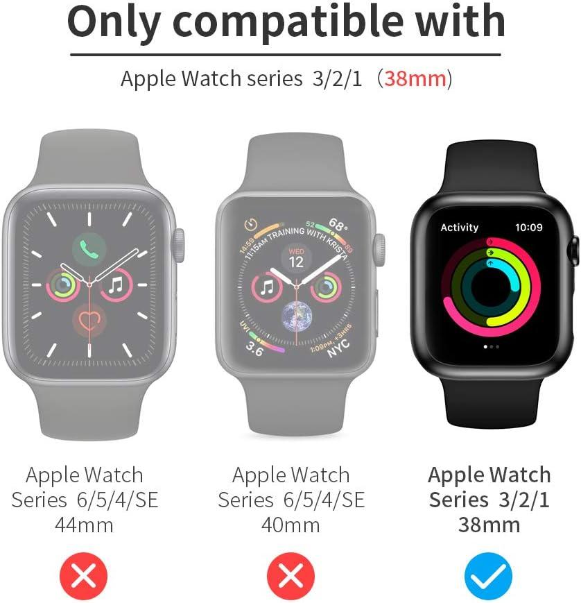 FLOVEME 2 Stück 38mm Schutzhülle Mit Panzerglas Displayschutz Kompatibel mit Apple Watch Series 3 2 1 38mm